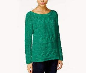 Bar III Long Sleeve Cable Knit Sweater,Clover Field