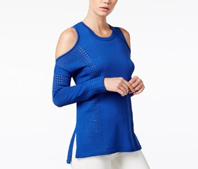 Bar III Perforated Cold-Shoulder Sweater, Lazulite
