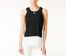 Bar III Mixed-Media Tank Top, Deep Black