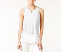 Bar III Mixed-Media Tank Top, Washed White