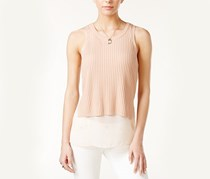Bar III Mixed-Media Tank Top, Ballet Pink