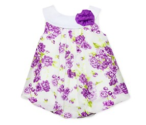 Baby Essentials Floral-Print Bubble Romper, Purple
