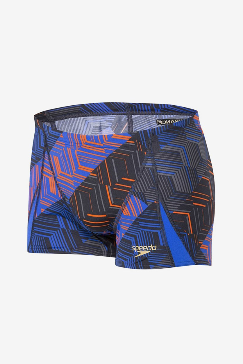 Colourspikes Allover V Panel Trunks, Black/Royal
