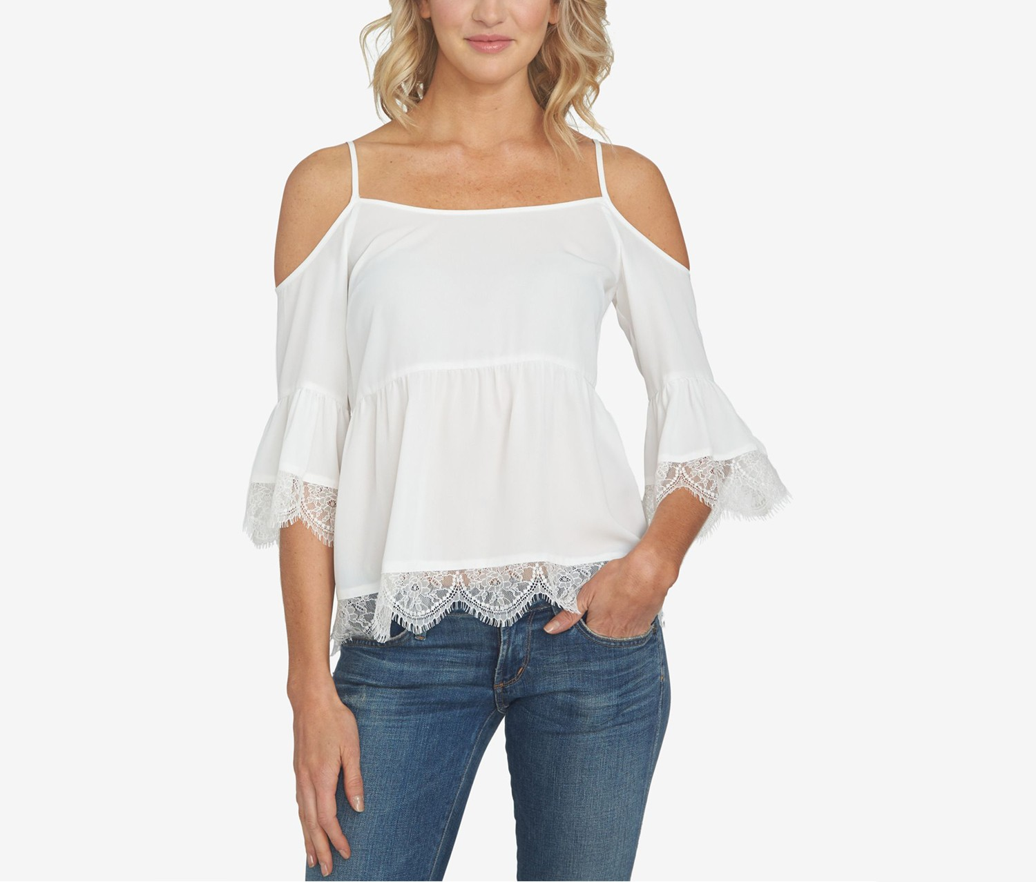 1.State Off-The-Shoulder Lace-Trim Top, Cloud