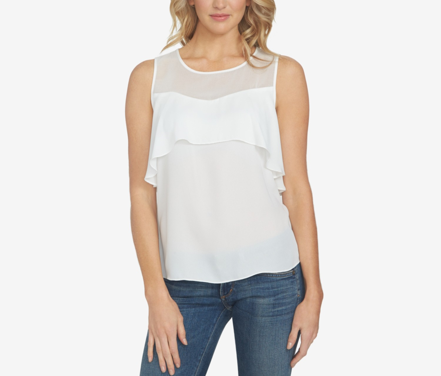 1.state Illusion Flounce Top, Cloud