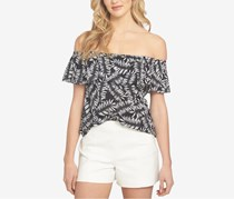 1.STATE Printed Off-The-Shoulder Flounce Top, Rich Black
