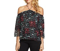 1.STATE Women Printed Cold-Shoulder Top, Rich Black