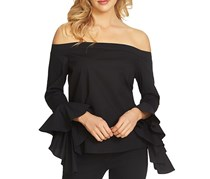 1.State Ruffled-Sleeve Off-The-Shoulder, Rich Black