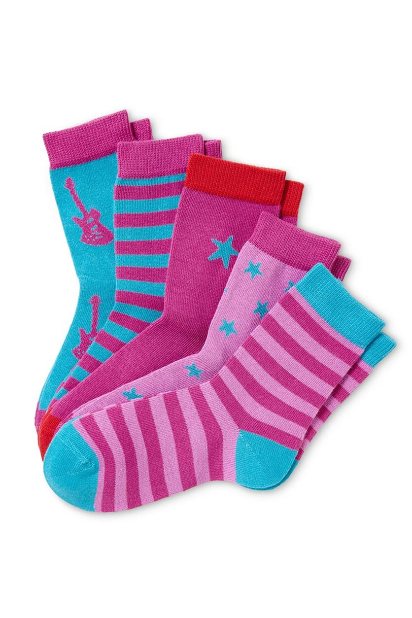 Girls Socks Set of 5, Turquoise/Fuchsia