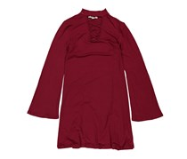 Moral Fiber Ladies Microfiber Knit Cut Out Front Bell Sleeve Swing Dress, Dark Red