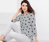 Women's Blouse Shirt, Black/White