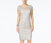Adrianna Papell Petite Sequined Illusion Dress, Silver