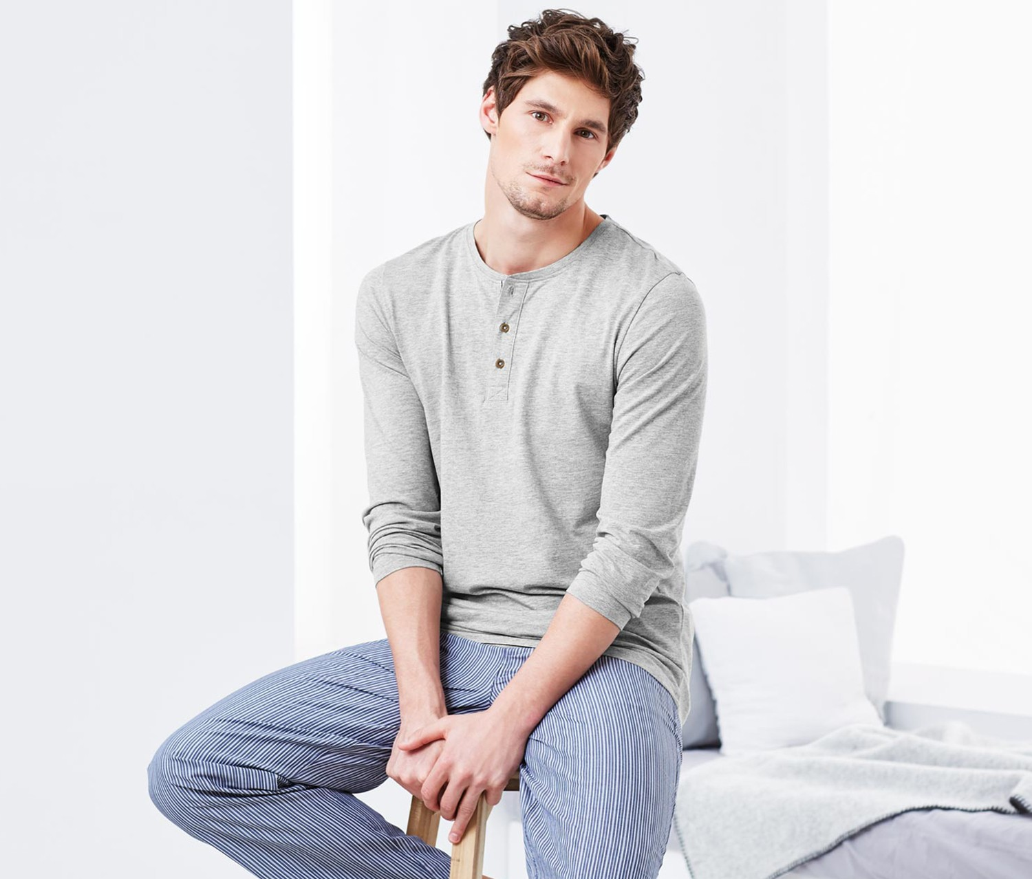 Mens Henley Shirt, Grey