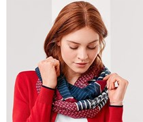 Women's Loopscarf, Blue/Red Combo