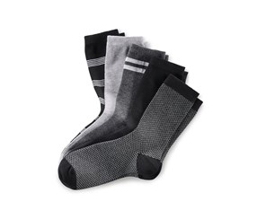 Women's Socks Set of 5, Light Grey/Dark Grey/Black