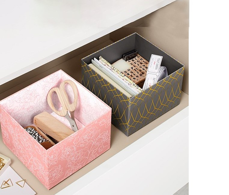 Drawer Organiser Set of 2, Pink/Dark Grey