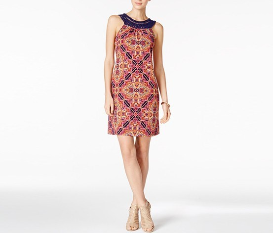 Printed Crochet-Trim Dress, Orange/Navy