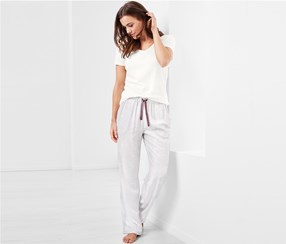 Women's Pajama Set, White/Grey