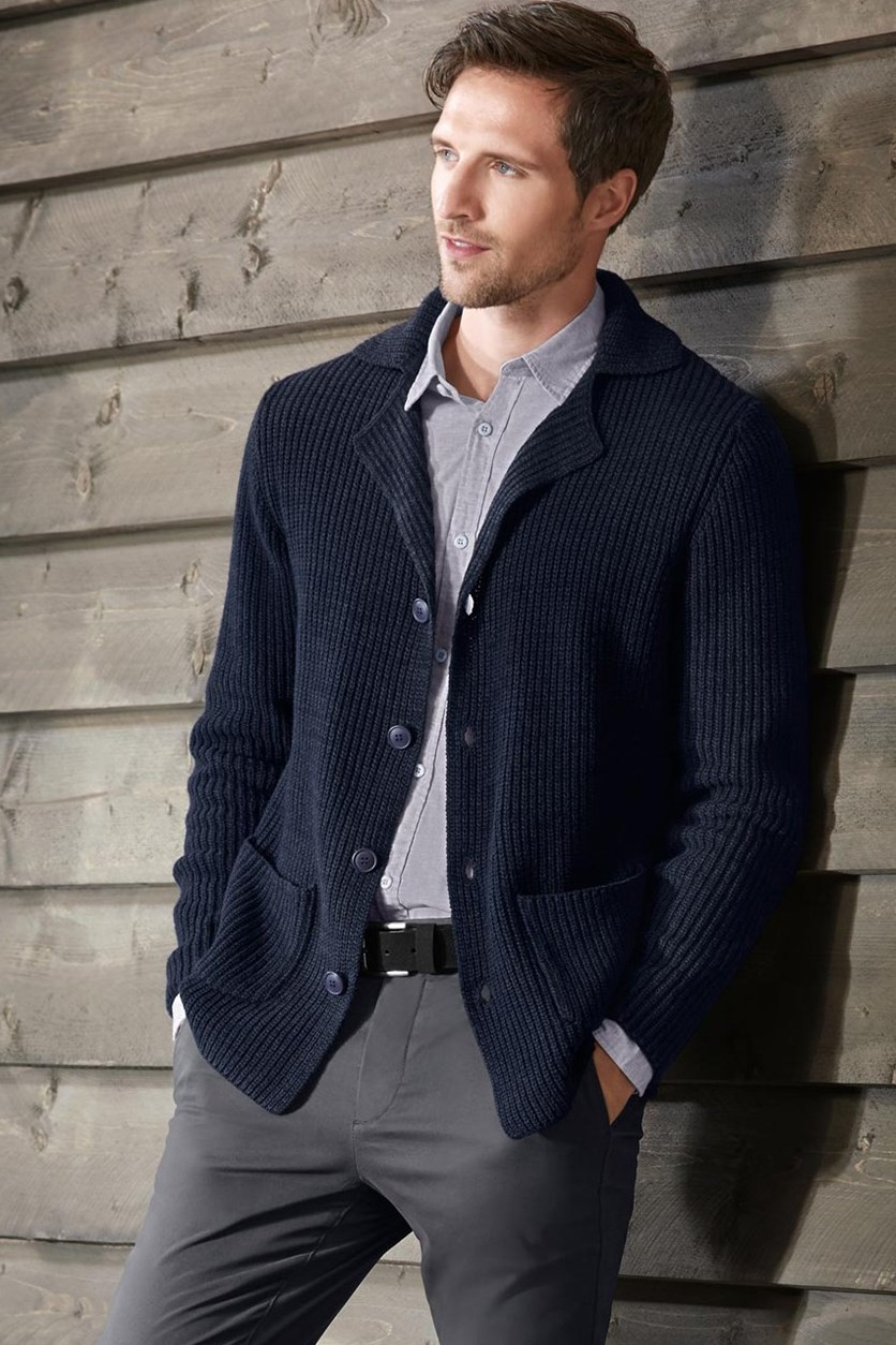 Mens Knitted Cardigan, Navy Blue