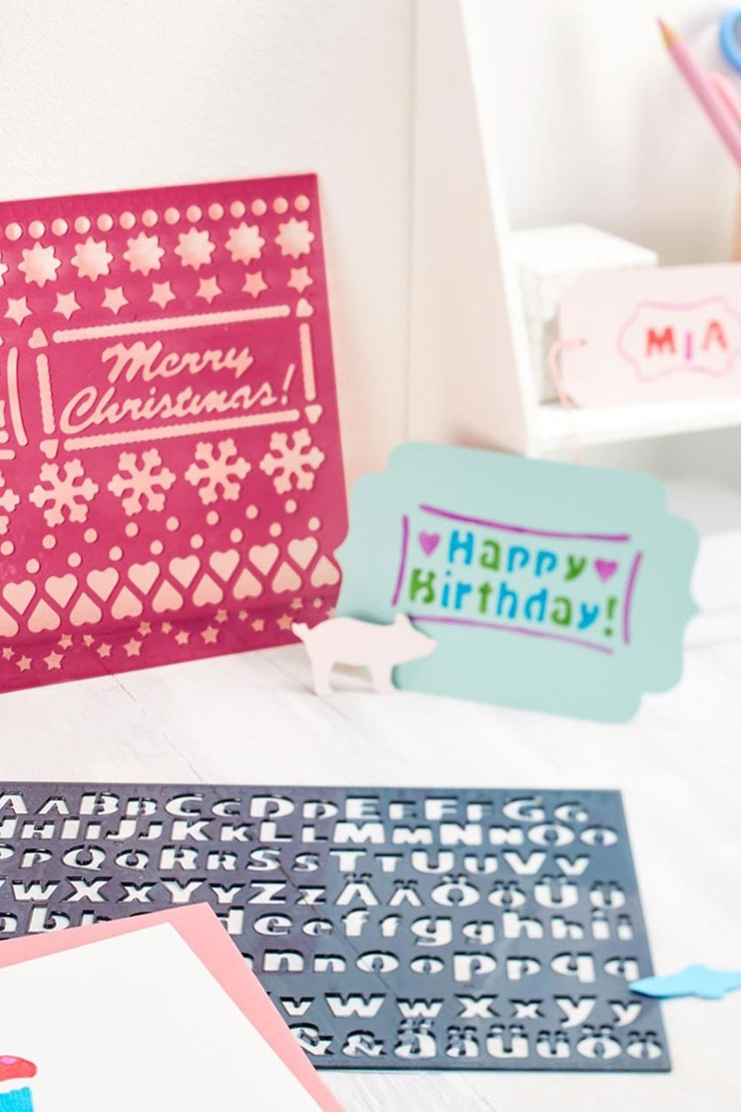Template Set, Red/Green/Blue/Turquoise/Pink