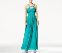 City Studio Embellished Cutout Ruched Gown, New Aqua