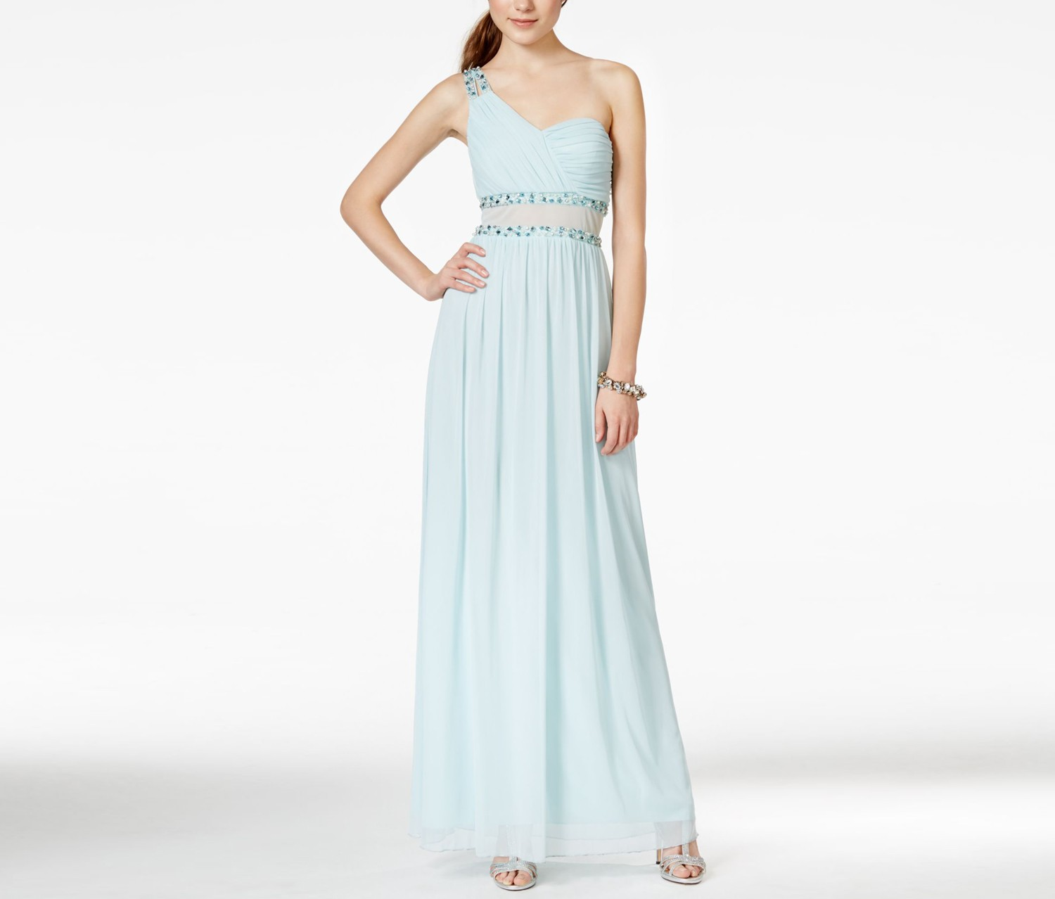 City Studios Juniors One-Shoulder Illusion Gown, Frosty Mint