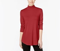 JM Collection Women's Solid Turtleneck Top, New Red Amore