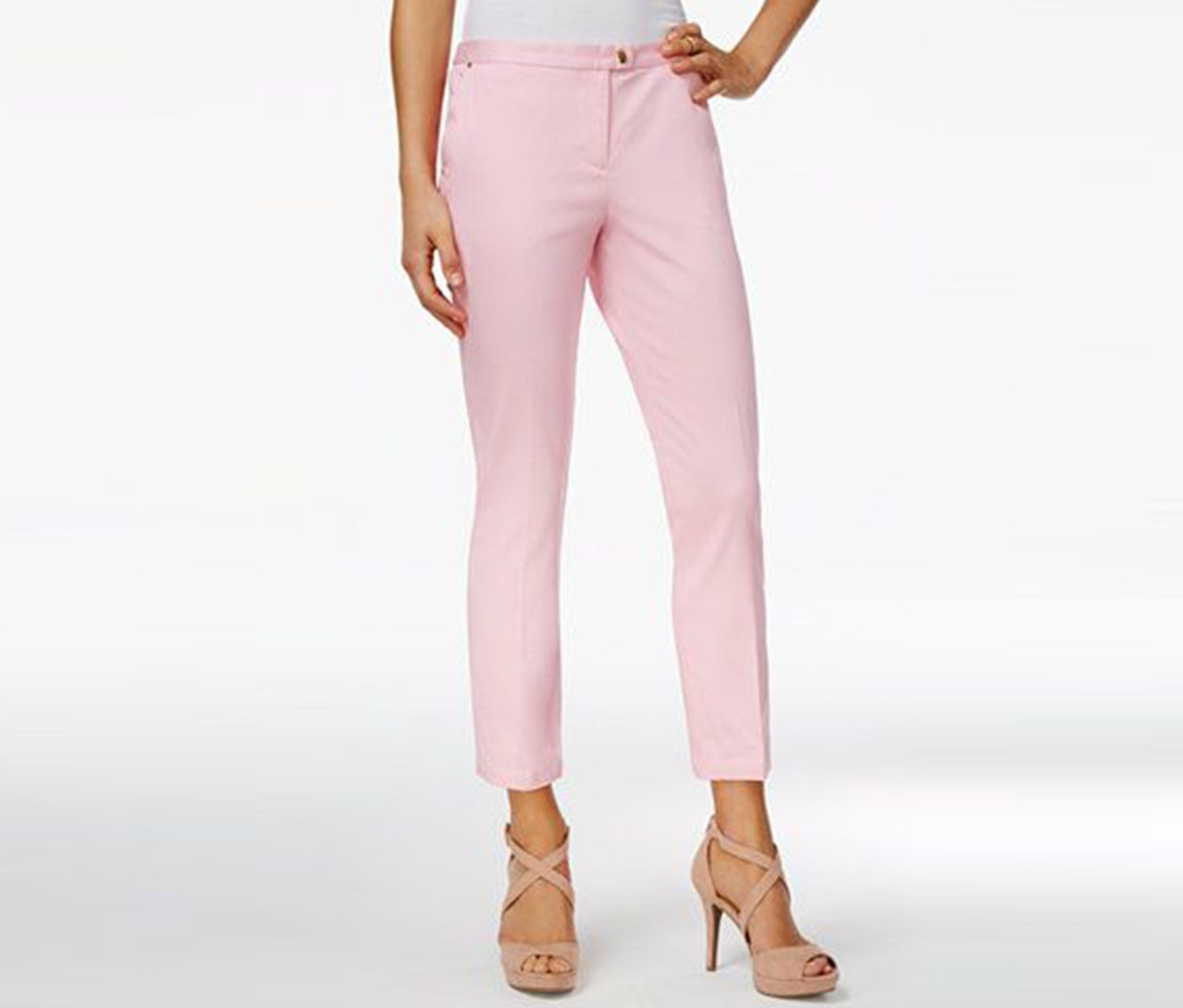 XOXO Juniors' Natalie Cropped Straight-Leg Trousers, Light Pink