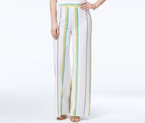 Xoxo Juniors Striped Wide-Leg Pants, White/Yellow