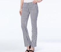 Xoxo Juniors' Natalie Striped Waist-Tab Flared Pants, Ivory/Navy