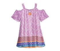 Sequin Hearts Printed Off-The-Shoulder Dress, Purple/Orange/Blue
