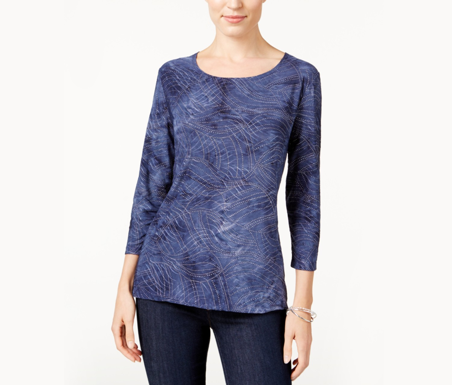 Womens Tie-Dyed Embellished Jacquard Top, Intrepid Blue