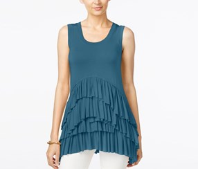Grace Elements Tiered Ruffle-Hem Top, Blue Sapphire