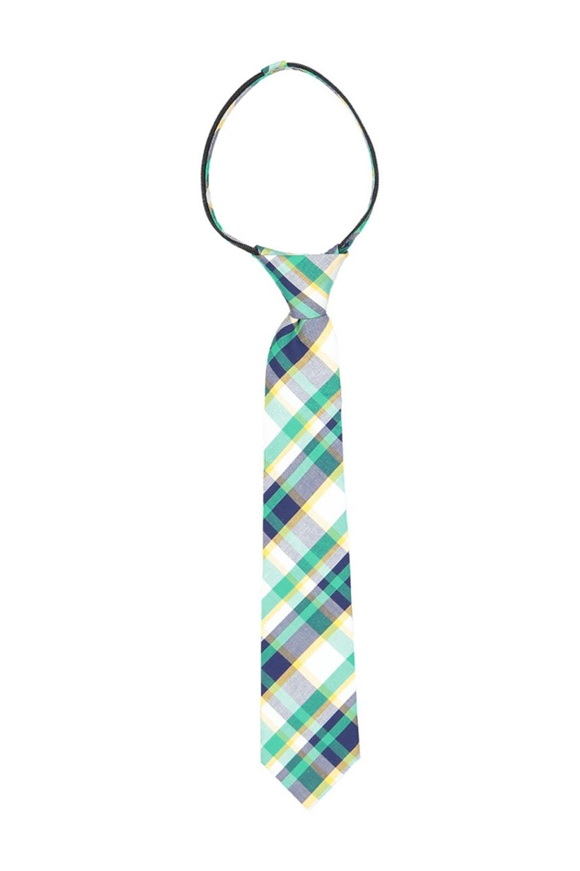 Boy's Plaid Zipper Tie, Green