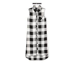Sequin Hearts Plaid Sleeveless Shirt with Necklace, Black/White