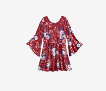 Sequin Hearts Big Girl's Bell-Sleeve Floral-Print Peasant Dress, Maroon Combo