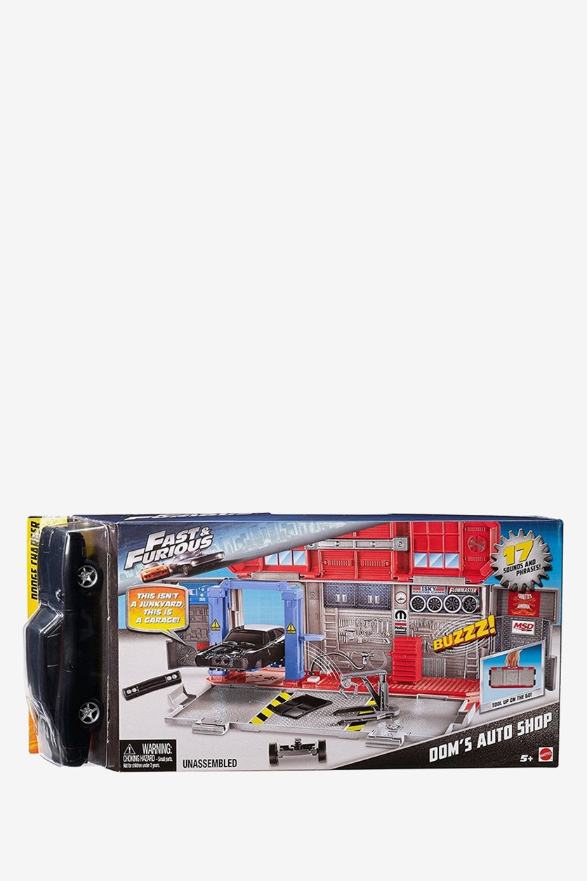 Fast & Furious 8 Customizers Doms Auto Shop Vehicle, Grey/Red/Black