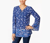 Style Co Seascape-Print Bell-Sleeve Top, Seaside Escape