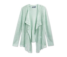 Takeout Girls Drape-Front Cardigan Sweater, Artic Tide
