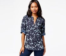 Maison Jules Printed Roll-Tab-Sleeve Top,Dark Blue