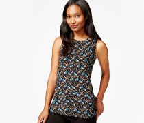 Maison Jules Tiered Printed Top, Black combo