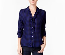 Maison Women's Jules Ruffled Plaid Shirt, Bright Saphire