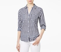 Cotton Gingham Shirt, Navy