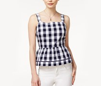 Maison Jules Cotton Gingham Peplum Top, Blu Notte/White