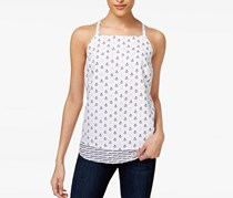 Anchor-Print Layered-Hem Top, Bright White Combo