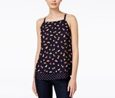 Maison Jules Printed Layered-Look Top, Blu Notte Combo