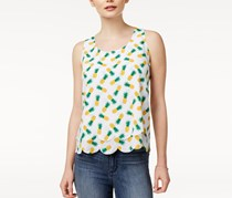 Maison Jules Printed Scalloped Top, Bright White Combo