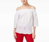 Maison Jules Women's Off-The-Shoulder Embroidered Top, White