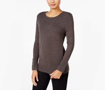 JM Collection Women's Button-Cuff Sweater, Charcoal Heather
