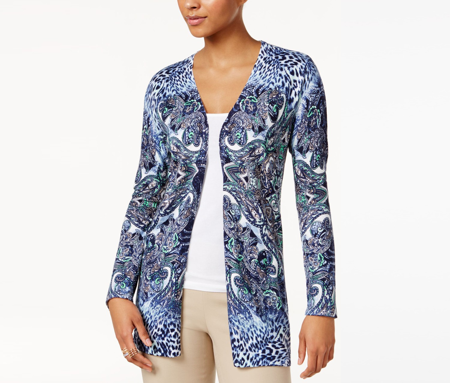 Jm Collection Petite Printed Flyaway Cardigan, Intriped Blu Combo
